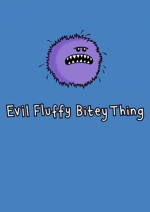 evil fluffy unisex blue