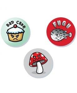 Danger foods cute badge set