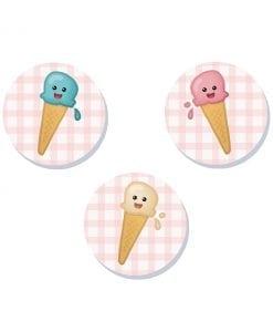cute ice cream badge set