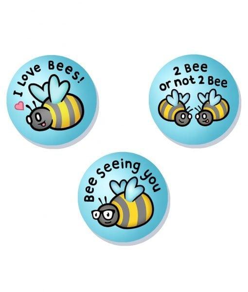 bees badge set original and cute