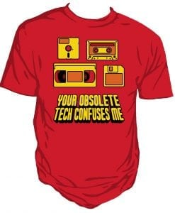 Obsolete technology fun t-shirt by Genki Gear
