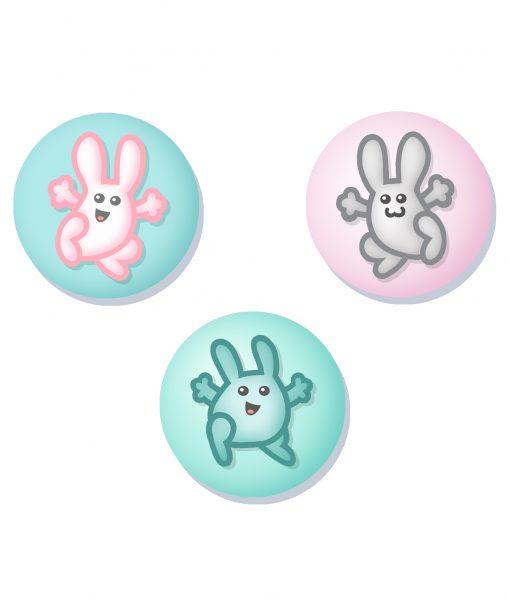 bouncy bunnies badge set