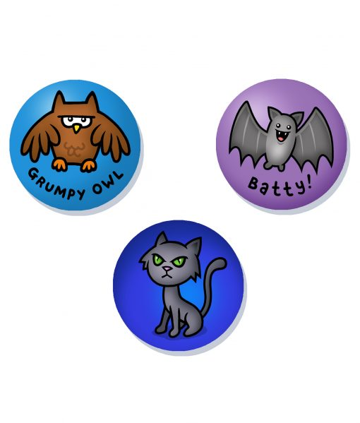 cute night time badge set
