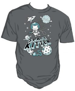 Space Kitten cute Unisex charcoal T-shirt