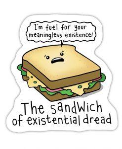 Sandwich of dread bespoke shaped vinyl sticker