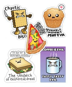 Food Set of five stickers.