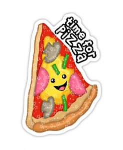 Time for Pizza stars effect holographic stickers