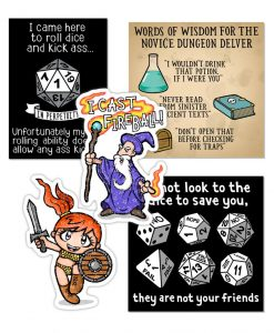 Tabletop Gaming Set of five stickers.