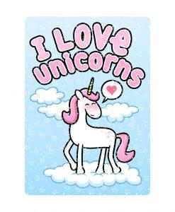 I Love Unicorns stars effect holographic stickers