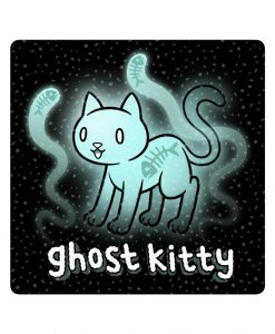 Ghost kitty sparkly sticker image