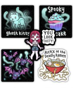 Spooky holographic sticker set