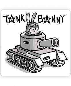 Tank Bunny bespoke shaped vinyl sticker